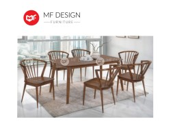 MF DESIGN Blush Dining Set (1 Table + 6 Chair) - Scandinavian Style [Full Solid Rubber Wood]